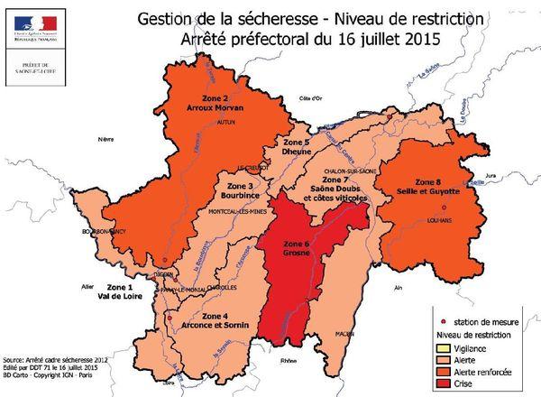 En Saône-et-Loire, les mesures de restrictions des usages de l'eau sont généralisées à l'ensemble du département.