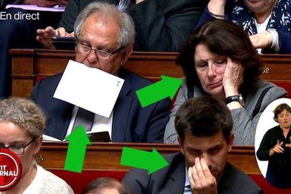 La députée de l'Hérault Anne-Yvonne le Dain en pleine sieste pendant une séance à l'Assemblée nationale