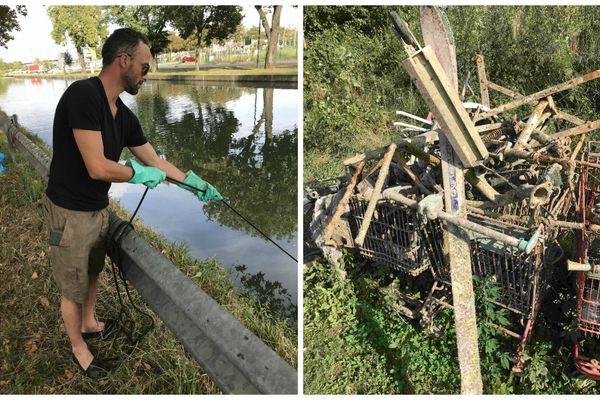 Sur les quais du canal du Rhône au Rhin, les pêcheurs à l'aimant ont retiré plusieurs tonnes de métal depuis le début de l'été.