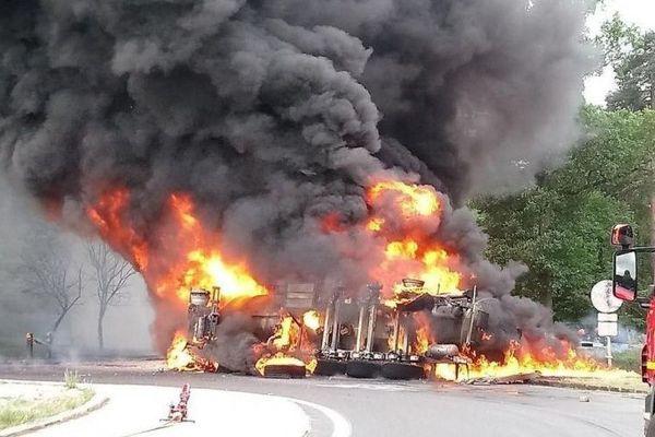 Un accident de camion à Fontainebleau, le 9 mai 2018.