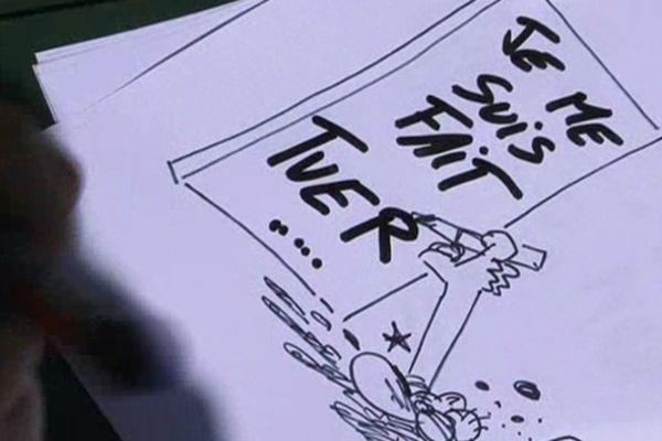 Un dessin de Gaston réalisé pour France 3 pendant le reportage
