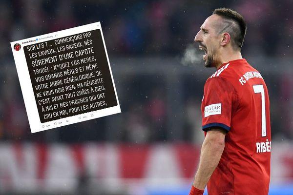 Franck Ribéry. En médaillon, un extrait de son message sur Twitter