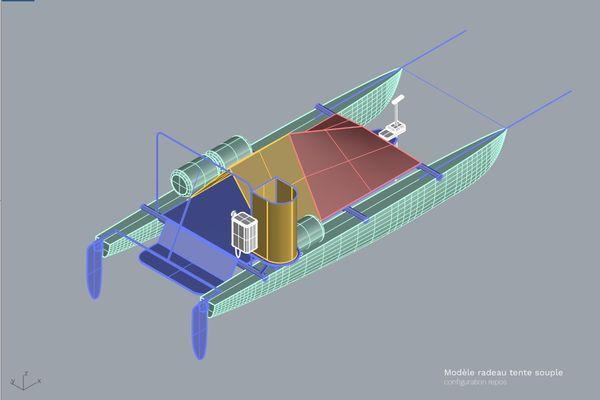 Maquette 3D du radeau à tente souple.