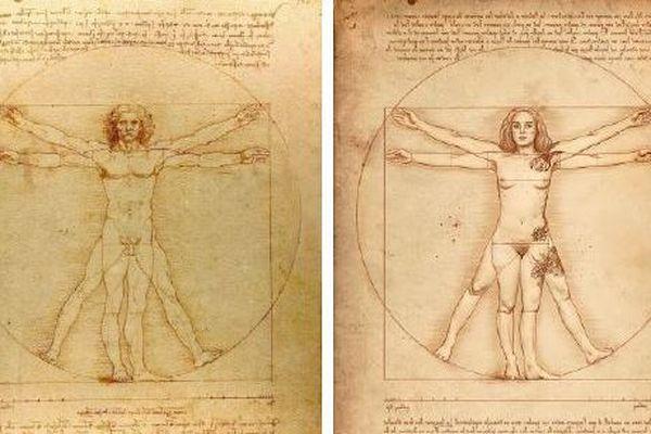 L'homme de Vitruve de léonard de Vinci ( 1492) et la version revisitée au féminin de Philippe Lucchese