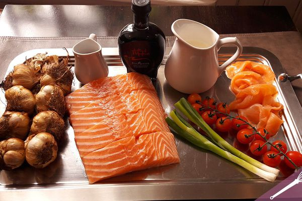 Les ingrédients du duo de saumon, crème à l'ail d'Arleux