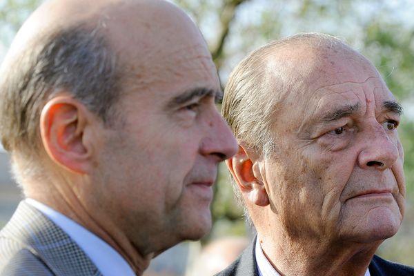 L'ancien président Jacques Chirac et son ancien Premier Ministre Alain Juppé ensemble à Bordeaux en 2009
