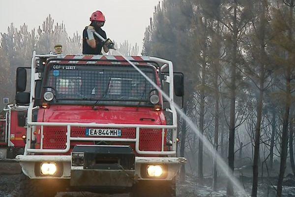 Les sapeurs-pompiers des Landes luttent contre un feu de forêt le 23 juillet à Sanguinet.