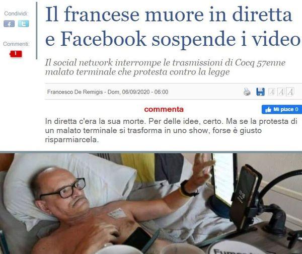 """""""Le Français meurt en direct et Facebook suspend les vidéos"""" a titré Il Giornale"""