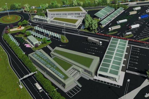Immagine del secondo sito italiano della futura linea Leon-Torino: San Diego Autoford vicino a Susa.  68.000 metri quadrati di stoccaggio e servizi della futura linea merci ad alta velocità.