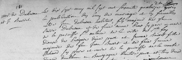 Jeanne Barret a épousé un soldat après son expédition. Ici un extrait de l'acte de mariage.