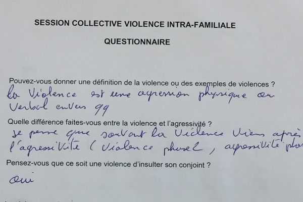 Une partie du questionnaire rempli par les auteurs de violences conjugales