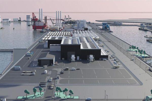 Visuel de la future usine d'éoliennes en mer du Havre