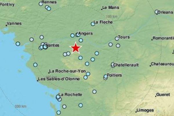 Tremblement de terre d'une magnitude de 4.9 en Loire-Atlantique et Maine-et-Loire, le 21 juin 2019