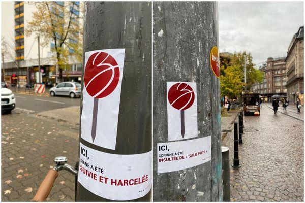 Dans le quartier de l'Esplanade et sur la place Kléber, deux exemples d'autocollants signalant des cas de harcèlement de rue qui ont eu lieu  à cet endroit.