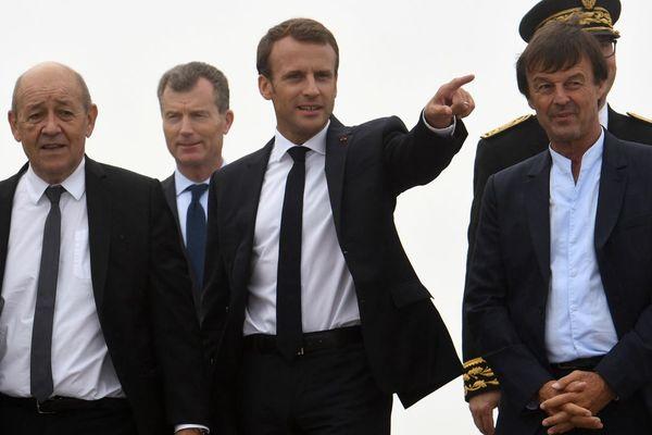 Jean-Yves Le Drian, Emmanuel Macron et Nicolas Hulot ce mercredi 20 juin 2018 à Plévenon dans les Côtes d'Armor