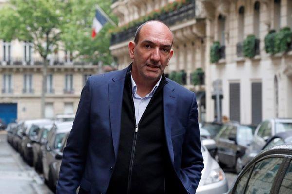 Le président du SC Bastia, Pierre-Marie Geronimi le 4 mai 2017 avant d'être entendu par la commission de discipline de la LFP.