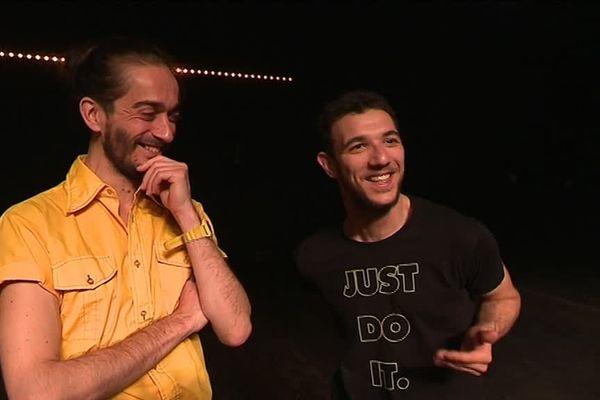 Le chorégraphe Mickaël Phelippeau et le boxeur-danseur Heddy Salem au Centre Chorégraphique National de Caen.