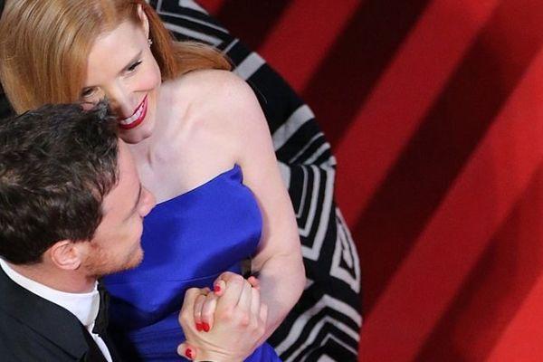 """L'actrice américaine Jessica Chastain et l'acteur britannique James McAvoy arrivent pour assister à la projection du film """"Relatos Salvajes (Wild Tales)"""""""