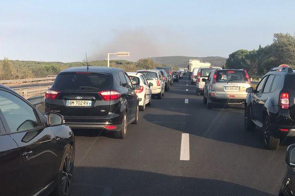 Incendie à Bizanet : l'autoroute A61 a été coupée dans les deux sens de circulation - 7 septembre 2017