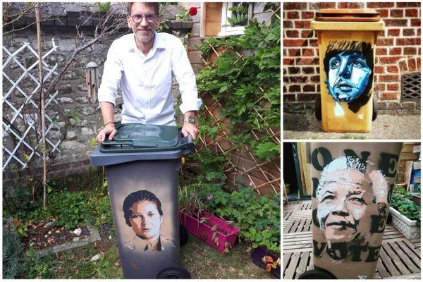 A Rouen, STM Artiste graffe les poubelles pour créer des liens avec les habitants du quartier.