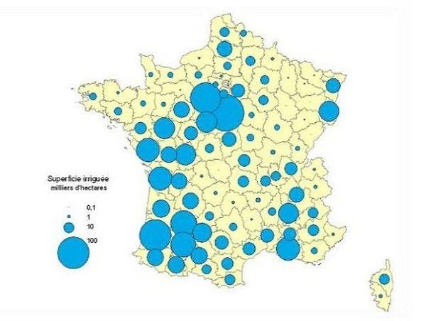La part des zones irriguées pour l'agriculture en Midi-Pyrénées