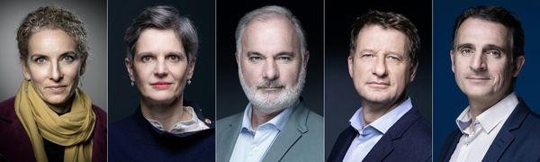 Les cinq candidats à la primaire écologiste. De gauche à droite : Delphine Batho, Sandrine Rousseau, Jean-Marc Governatori, Yannick Jadot et Eric Piolle.