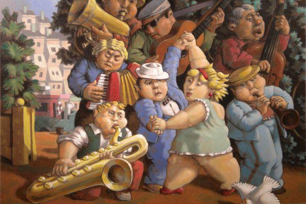 Peinture «Fugue pour un saxo» de Christian Vassort
