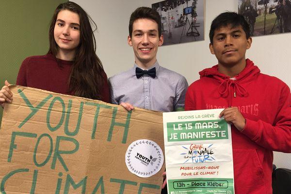 Lisa, Samuel et Nathanaël participent à la grève pour le climat du 15 mars 2019