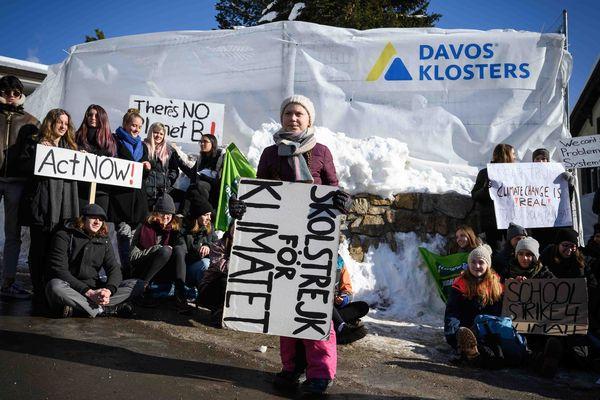 Le mouvement a été initié par la jeune Suédoise Greta Thunberg, ici à Davos (Suisse)