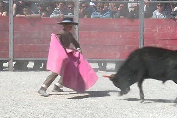 A la Féria d'Arles, des apprentis toreros des écoles de Béziers et d'Arles se sont produits devant le public, dans des arènes spécialement mises en place pour eux - 16 avril 2017