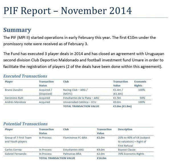 Rapport interne du City Football Group faisant le point sur les activités de MPI II & Partners en novembre 2014.
