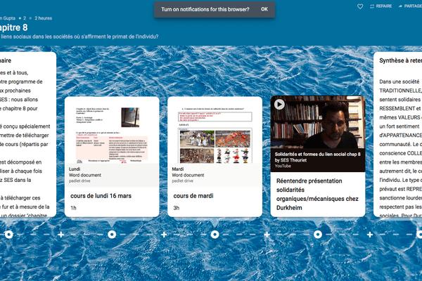 L'application Padlet utilisée par le lycée André Theuriet de Civray permet de déposer cours, corrigés et devoirs sur un mur virtuel.