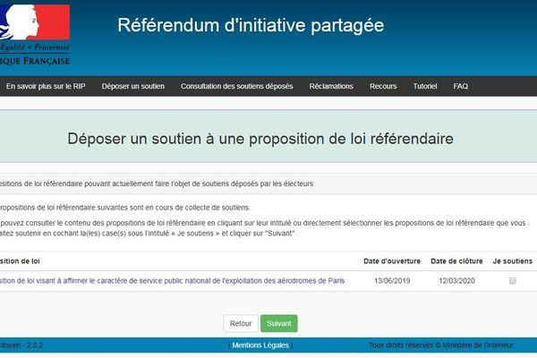 Référendum d'initiative partagée: site du gouvernement