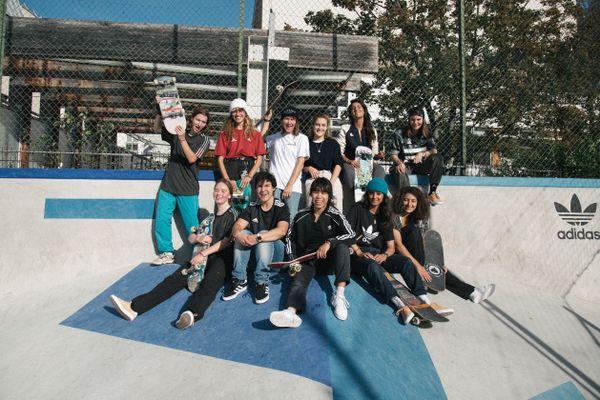 Photocall Adidas en octobre 2019, à Charonne.