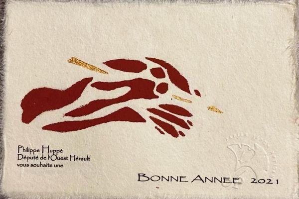 La carte de vœux du député de l'Hérault Philippe Huppé, envoyée à 2000 personnes, a été décorée avec de la terre du Salagou par un artisan installé à Salasc.