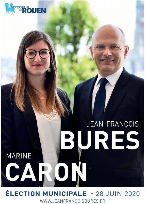 Affiche de campagne du second tour de Jean-François Bures et Marine Caron