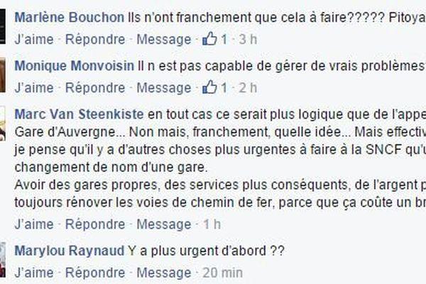 Quelques uns des commentaires publiés sur la page Facebook de France 3 Bourgogne