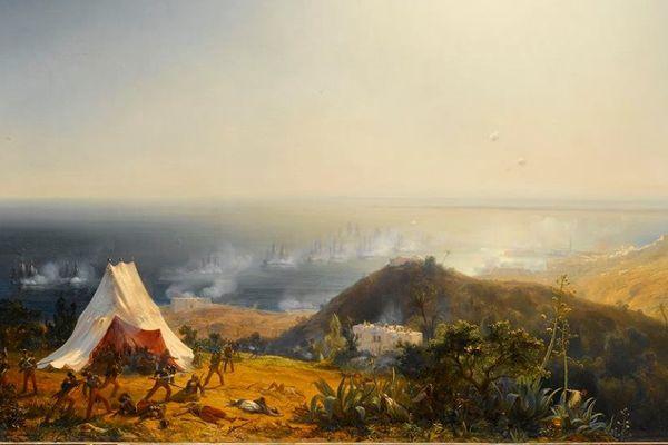 Théodore Gudin, Attaque d'Alger par terre et par mer, 29 juin 1830, 1831, huile sur toile, 129 X 193 cm. Musée national des châteaux de Versailles et de Trianon