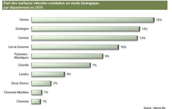 La Gironde et son vignoble bordelais : 7 % des surfaces cultivées le sont en agriculture biologique