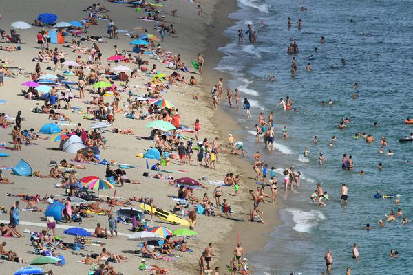 La plage du Racou le 15 août 2019, à Argelès-sur-Mer dans les Pyrénées-Orientales.