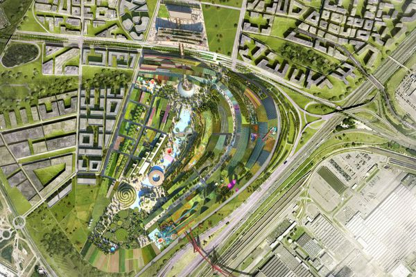 Une vue du plan masse du nouveau projet EuropaCity, dans le Val-d'Oise (vue d'artiste).