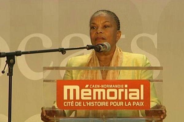 Christiane Taubira, Garde des Sceaux, au Mémorial de Caen dimanche 2 février 2014 pour présider le 25ème concours de plaidoiries des avocats