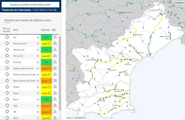 Les fleuves de l'Aude et les Pyrénées-Orientales sont repassés en vigilance orange inondation ce jeudi soir