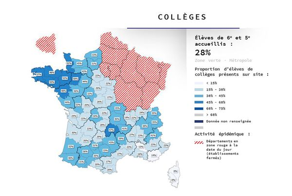 La Corse est la seule région, classée vert quant à l'évolution de l'épidémie de Coronavirus, à garder ses collèges fermés.