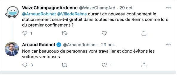 Echange entre l'appli Waze et le maire de Reims.