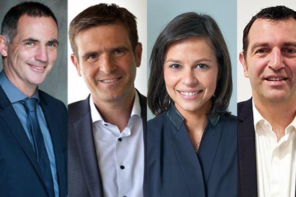 Second tour des territoriales, les 4 têtes de listes : Gilles Simeoni (Nat.), Jean-Martin Mondoloni (D), Valérie Bozzi (D), Jean-Charles Orsucci (LaREM)