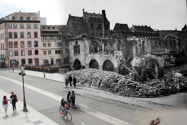 Deux photos superposées, deux époques mais un même lieu. On se situe ici rue du Vieux-Marché-aux-Poissons à Strasbourg. A la place du bâtiment détruit au premier plan se trouve aujourd'hui le marché de la nouvelle douane.