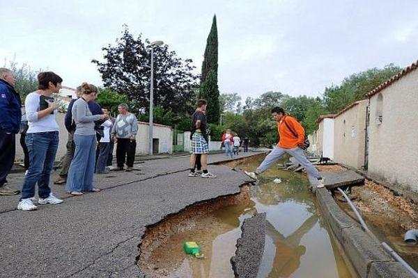 Grabels (Hérault) - les rues dévastées par les inondations - 7 octobre 2014.