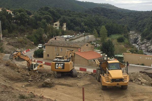 Circulation difficile pour des travaux sur la RT20 entre Ajaccio et Bastia, à Funtanone.
