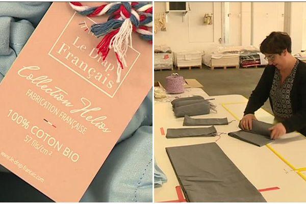 """A Gérardmer (Vosges), la collection du linge de lit """"Le Drap Français"""" se décline en plusieurs couleurs."""